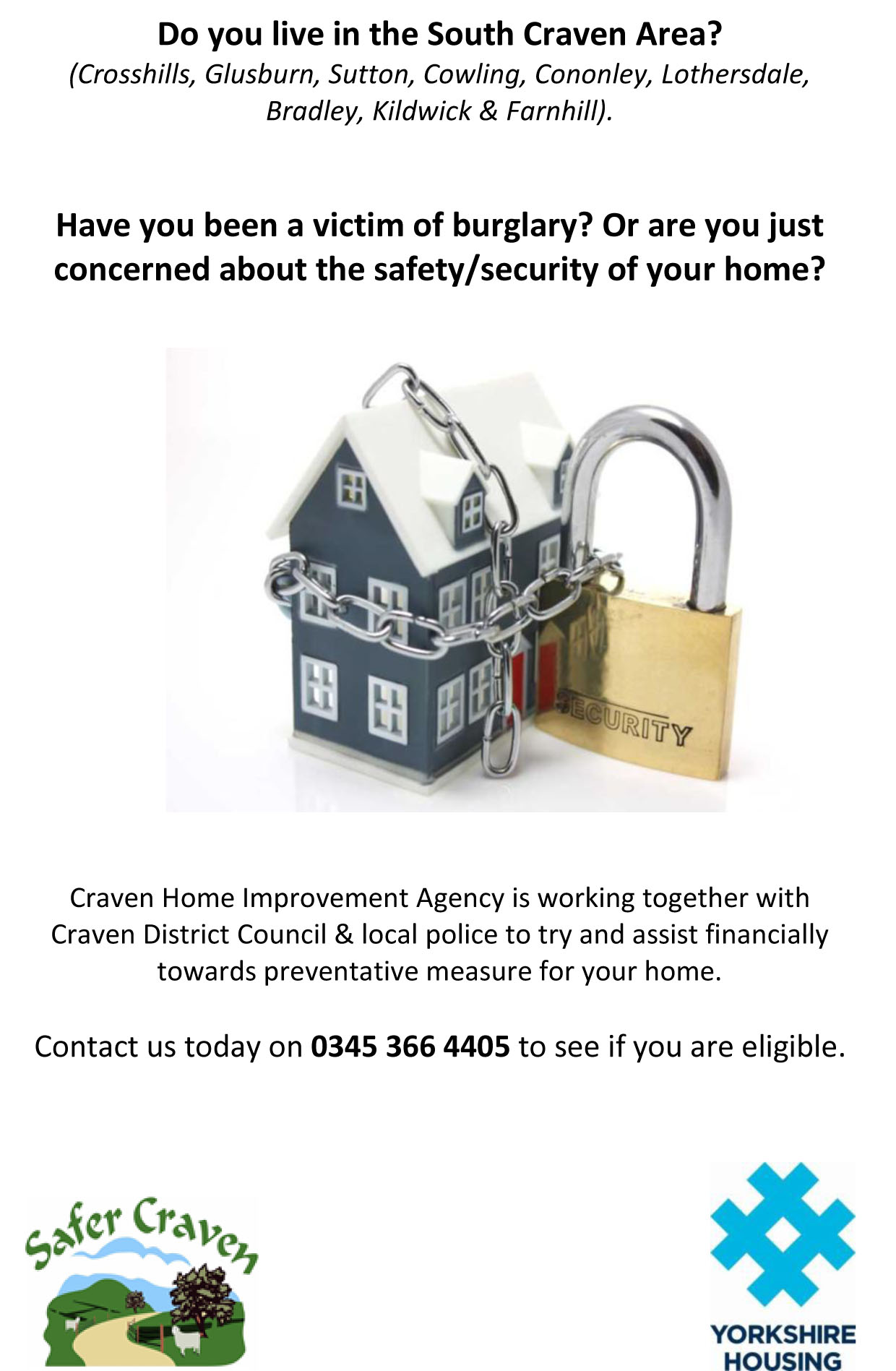 Home security upgrade flyer South Craven area