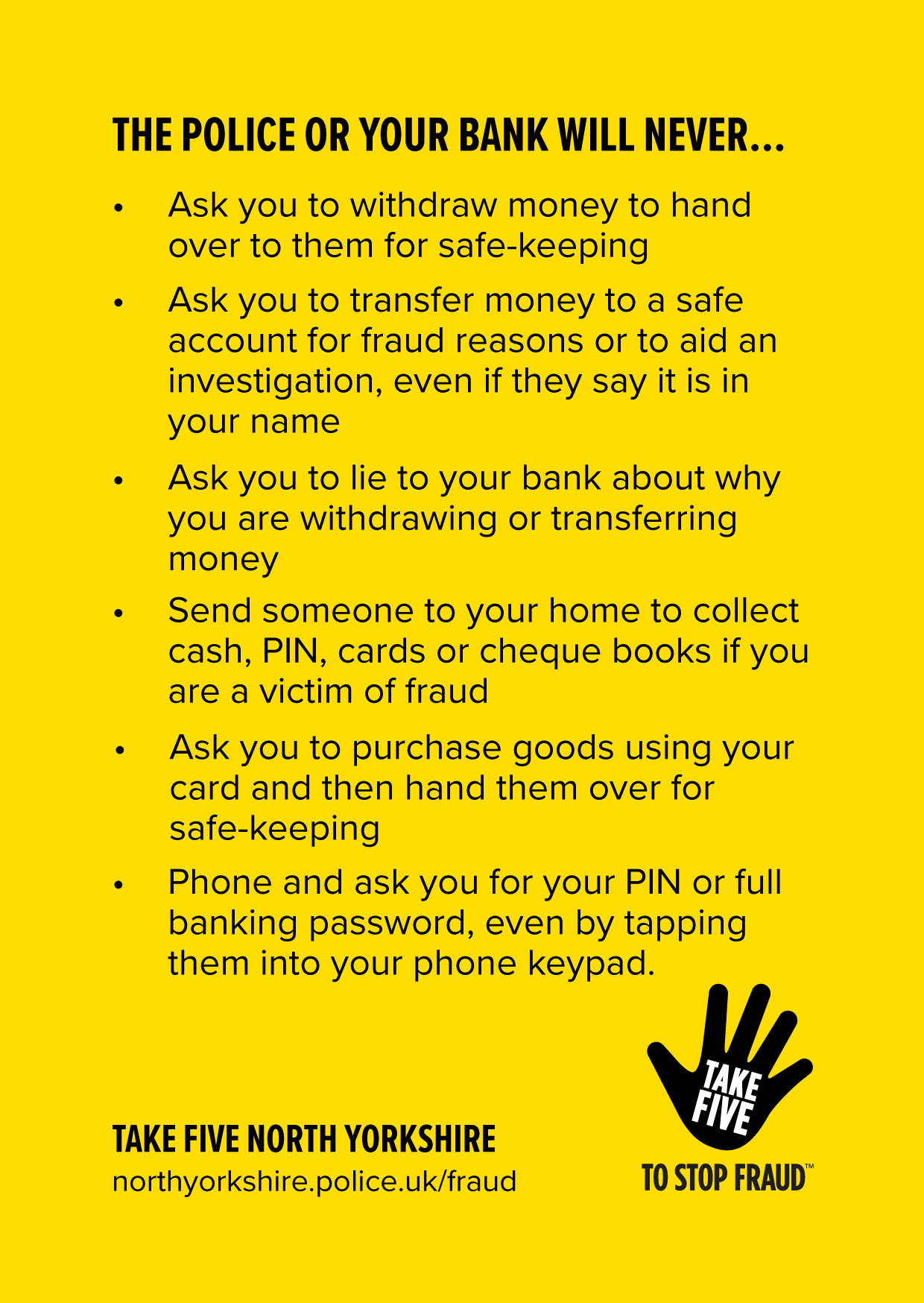 Take Five - The police or your bank will never